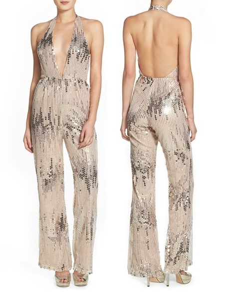 Missguided Sequin Halter Neck Jumpsuit