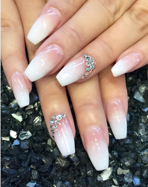 french nails with swarovski crystals