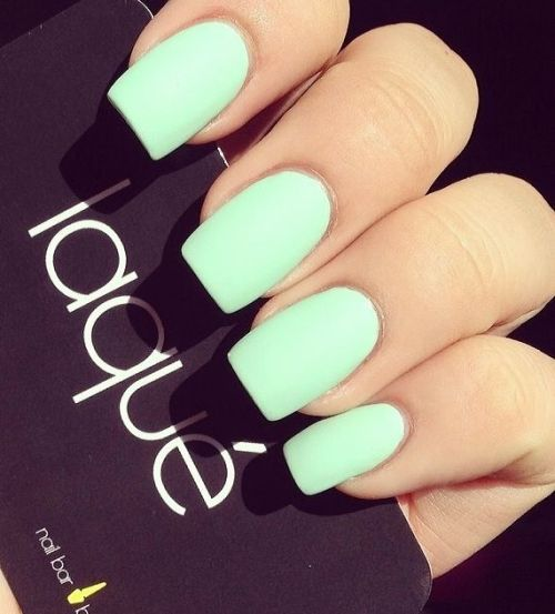 pale matte mint nails