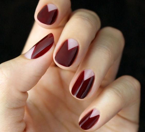 geometric-red-manicure