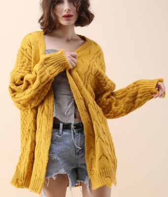 chic wish-comfy-day-diary-cable-knit-cardigan-mustard