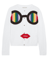 Alice-olivia-ruthy-rainbow-staceface-appliqued-cotton-blend-cardigan